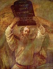 Rembrant painting of Moses holding the Commandments