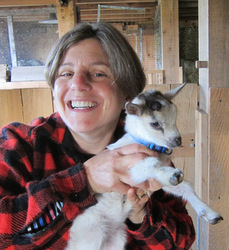 Alison and a Nigerian Dwarf Goat kid